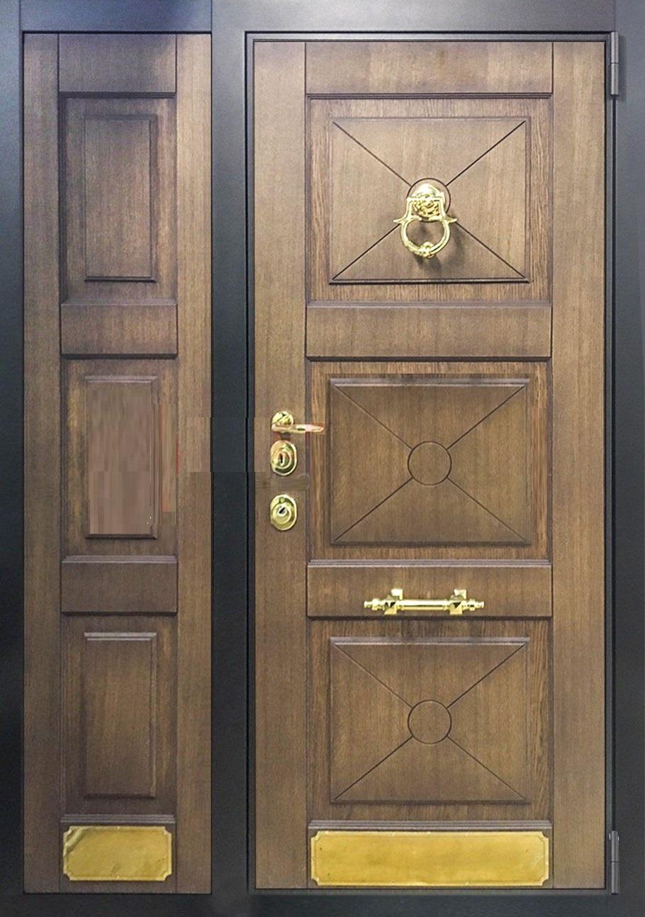 Металлическая двустворчатая дверь с МДФ с 2-х сторон - купить в Самаре по цене 19000 рублей с доставкой и установкой